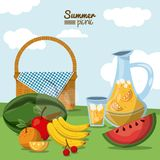 Colorful poster of summer picnic with field landscape and picnic basket with juice jar and fruits. Vector illustration Royalty Free Stock Image