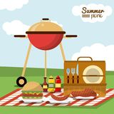 Colorful poster of summer picnic with field landscape and picnic basket in tablecloth with charcoal grill and sausage. And sauces and burger vector illustration Royalty Free Stock Photos