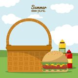 Colorful poster of summer picnic with outdoor landscape with picnic basket with hamburger and sauces. Vector illustration Stock Image