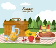 Colorful poster of summer picnic with outdoor landscape and picnic basket in tablecloth with juice jar and fruits and Stock Photos
