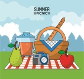Colorful poster of summer picnic with outdoor landscape and picnic basket in tablecloth with pear and juice jar and. Photo camera vector illustration Stock Image