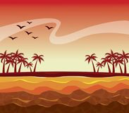 Colorful poster sunset sky landscape of palm trees on the beach. Vector illustration Royalty Free Stock Images