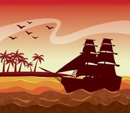 Colorful poster sunset sky landscape of palm trees on the beach and sailboat on the waves. Vector illustration Royalty Free Stock Photography