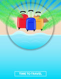Colorful poster to advertise travel packages to sea. Leisure. Se. A, palm, sand, beach, summer, suitcase. Vector illustration Stock Photo
