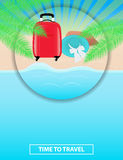 Colorful poster to advertise travel packages to sea. Leisure. Se. A, palm, sand, summer, beach hat and red suitcase. Vector illustration Stock Photo