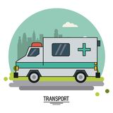 Colorful poster of transport with ambulance vehicle on background outskirts of the city in shape of sphere. Vector illustration Royalty Free Stock Photos