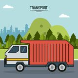 Colorful poster of transport with outdoor landscape background with garbage truck in the way royalty free illustration