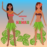 Colorful poster with tropical rest, time off on Hawaii islands, vacation, weekend,  Aloha, Girl dancing hula, Luau party elements Stock Photo