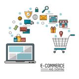 Colorful poster in white background of e-commerce and shopping with laptop computer and process add to shopping cart vector illustration