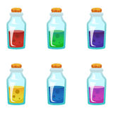 Colorful potion bottle icons set. Assets set for game design and web application. Colorful potion bottle icons set. Ready assets set for game design and web Stock Photography