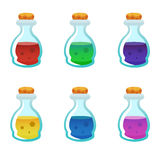Colorful potion bottle icons set. Assets set for game design and web application. Colorful potion bottle icons set. Ready assets set for game design and web stock illustration