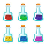 Colorful potion bottle icons set. Assets set for game design and web application. Colorful potion bottle icons set. Ready assets set for game design and web royalty free illustration