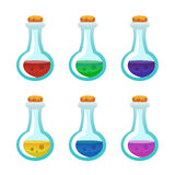 Colorful potion bottle icons set. Assets set for game design and web application. Colorful potion bottle icons set. Ready assets set for game design and web Stock Photos