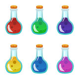 Colorful potion bottle icons set. Assets set for game design and web application. Colorful potion bottle icons set. Ready assets set for game design and web Royalty Free Stock Photos