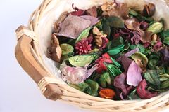 Colorful Potpourri in basket. Close up of colorful Potpourri in wicker basket, white background royalty free stock images