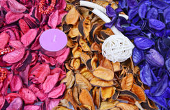 Colorful potpourri with candles Stock Photography
