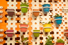 Colorful pots for garden Royalty Free Stock Image