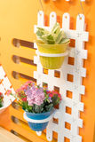Colorful pots for garden Stock Photos