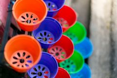Colorful Pots in the garden stock image