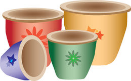 Colorful pottery. Illustration of colorful pottery with artistic designs.  White background Stock Photography
