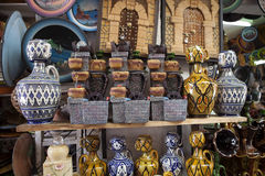 Colorful pottery in the bazaar,Essauria, Morocco Royalty Free Stock Images