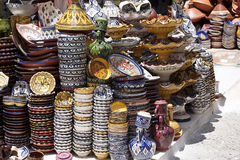 Colorful pottery in the bazaar,Essauria, Morocco Stock Photo