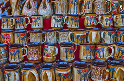 Colorful pottery. Display of colorful pottery items Stock Photos