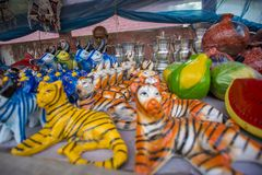 Colorful pottery is sold in the three day long Baishakhi. The century's old traditional Boishakhi Fair-cum-Abdul Jabbar Wrestling Competition, one of the Royalty Free Stock Photos