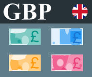Colorful pound sterling banknotes. Flat design  illustration. Royalty Free Stock Photo