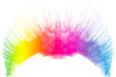 Colorful powder explosion on white background.Colored dust particle splash.Painted Holi.  royalty free stock photography