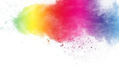 Colorful powder explosion on white background. Pastel color dust particle splashing.  royalty free stock photography