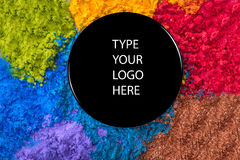 Colorful powder eyeshadow and cap with blank Royalty Free Stock Photography