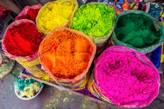 Colorful powder Holi. Colorful powder for sale on the festive occassion of holi in india Stock Photography