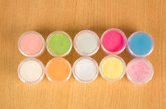 Colorful powder for nails Royalty Free Stock Photo