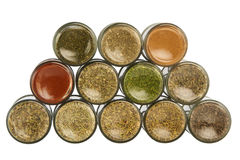 Colorful powder spices in glass bottle Royalty Free Stock Image