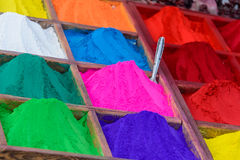 Colorful powders in Kathmandu Stock Photography