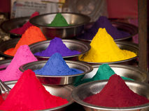 Colorful powders at a market in Orchha, India Stock Image