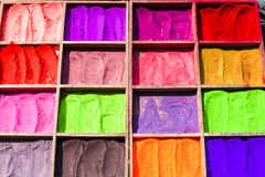 Colorful powders for religious purposes (Hinduism) on a market in Nepal Stock Photo