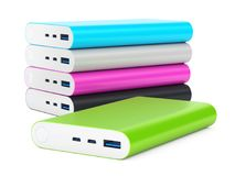 Colorful power banks  on white background Stock Photography