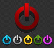Colorful power buttons set Royalty Free Stock Image