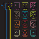 Colorful power socket set Royalty Free Stock Photos