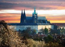 Colorful Prague gothic Castle Royalty Free Stock Photography