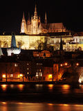 Colorful Prague gothic Castle in the Night Stock Photo