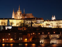 Colorful Prague gothic Castle in the Night Stock Photos
