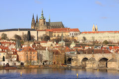 Colorful Prague gothic Castle on the River Vltava Royalty Free Stock Images