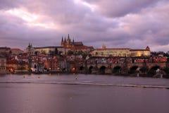 Colorful Prague gothic Castle after Sunset, Czech Republic Stock Photos