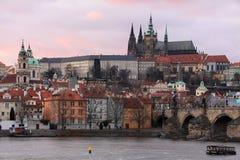 Colorful Prague gothic Castle after Sunset, Czech Republic Stock Photography
