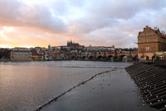 Colorful Prague gothic Castle after Sunset, Czech Republic Royalty Free Stock Photography