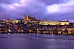 Colorful Prague gothic Castle after Sunset, Czech Republic Stock Image