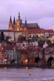 Colorful Prague gothic Castle after Sunset, Czech Republic Royalty Free Stock Photos